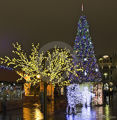Moscow, Russia - December 2011: Christmas trees Editorial Image