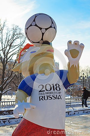 Free Moscow, Russia - February 14, 2018: Wolf Zabivaka The Official Mascot Of Championship FIFA World Cup Russia 2018 On Manezhnaya Squ Royalty Free Stock Photo - 109986275