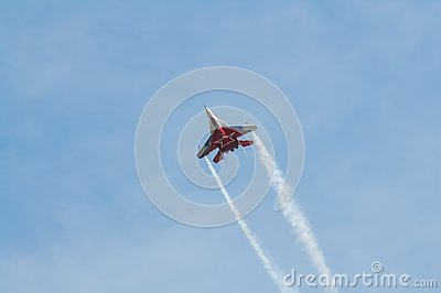 Airplane interceptor MIG at airshow Stock Photo