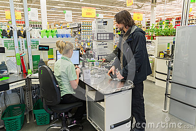 Moscow russia march 14 people pay for goods at checkout - Peinture industrie leroy merlin ...