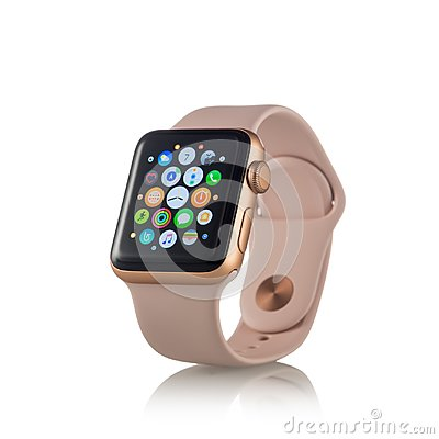 Free MOSCOW, RUSSIA - OCTOBER 07, 2017: New Apple Watch Series 3 Gold Royalty Free Stock Images - 101584419