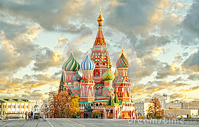 MOSCOW, RUSSIA, postcard view of red square and ST. BASIL cahtedral Stock Photo
