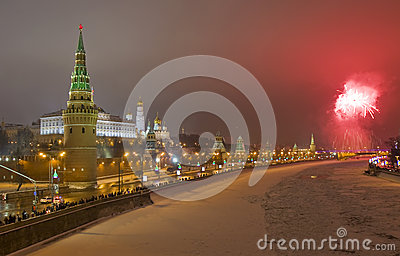 Moscow, salute near Kremlin in new years night