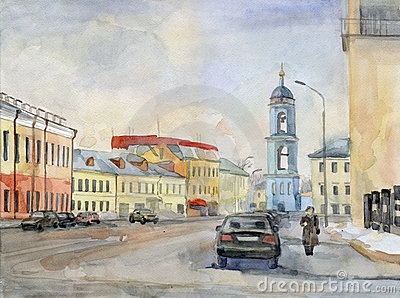 Moscow street. Watercolor.