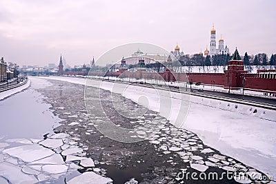 Moscow winter river Kremlin