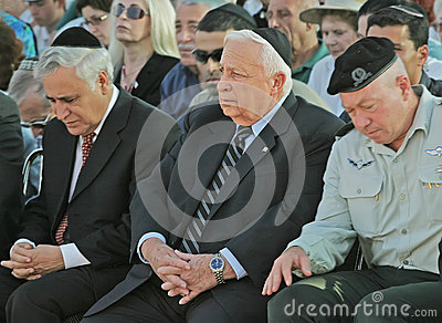 Moshe Katsav and Ariel Sharon Editorial Stock Photo