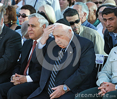 Moshe Katsav and Ariel Sharon Editorial Photography