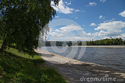Moskva river embankment, Moscow, Russia