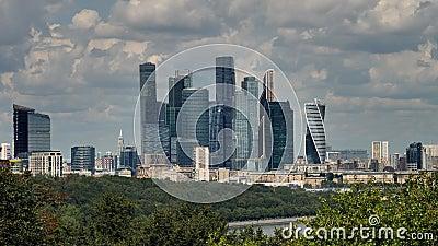Moskwa, Rosja, centrum miasto, widok na kompleksie drapacz chmur zdjęcie wideo