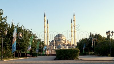 The Mosque of Akhmad Kadyrov, the City of Grozny, the Capital of the Chechen Republic of the Russian Federation. GROZNY, RUSSIA - JUNY 24, 2018: The Mosque of stock video