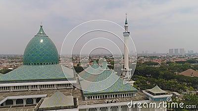 Mosque Al Akbar in Surabaya Indonesia. Aerial view mosque in Indonesia Al Akbar in Surabaya, Indonesia. beautiful mosque with minarets on island Java Indonesia stock footage