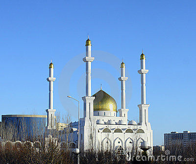 Mosque in Astana on blue sky background.