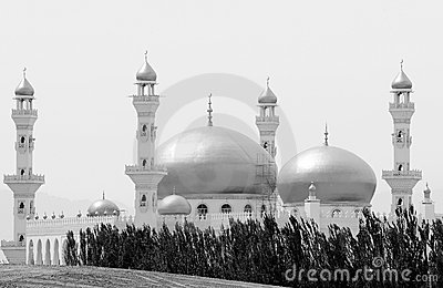 Mosque in black-and-white