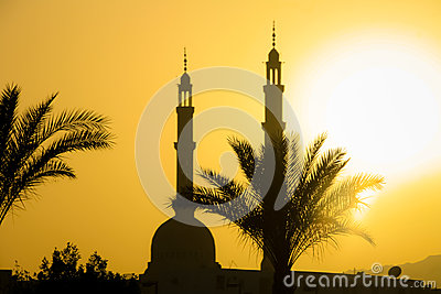 Mosque in Cairo at sunset
