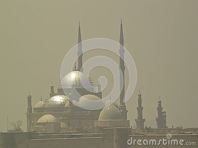 Mosque in desert storm