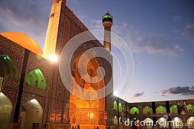 Mosque illuminated at dusk