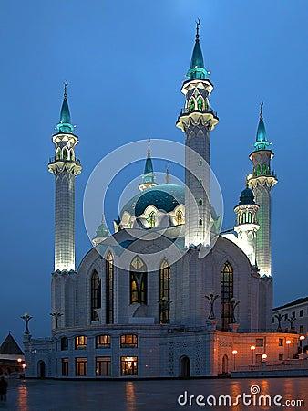 Mosque Kul Sharif at evening illumination.
