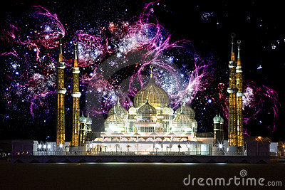 Mosque at Night with Galactic Background