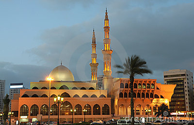 Mosque in Sharjah at dusk
