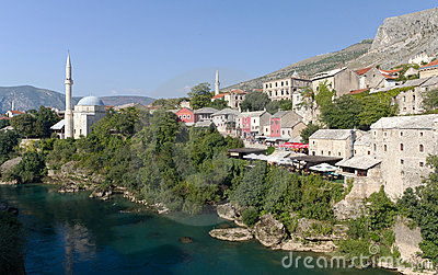 Mosque and Shops in Mostar, Bosnia Herzegovina Editorial Image
