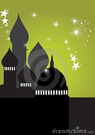Mosque with stars - vector