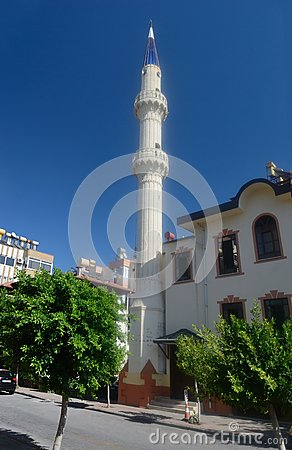 Mosque on a street of Alanya. Turkey