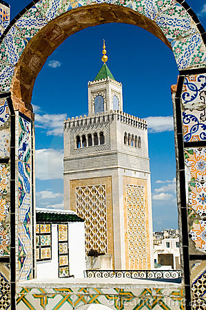 Free Mosque Tower - Framed With Ornamental Arch In Tunis Stock Images - 1456124