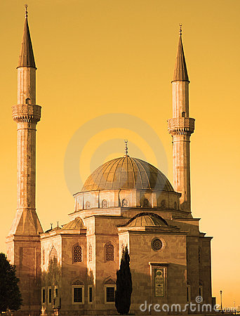 Mosque with two minarets in