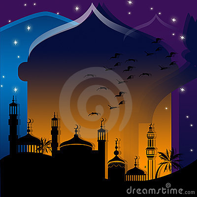 Mosques against starry night