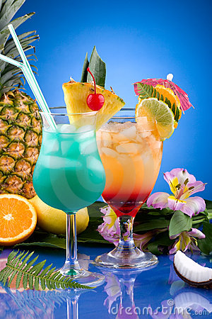 Free Most Popular Cocktails Series - Mai Tai And Blue H Stock Image - 6033071