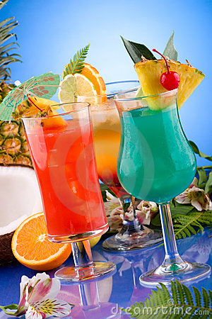 Most Popular Cocktails Series - Mai Tai, Blue Hawa Royalty Free Stock ...