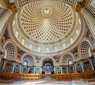 Free Mosta, Malta - Panoramic Interior Shot Of Mosta Dome Royalty Free Stock Photos - 105048128