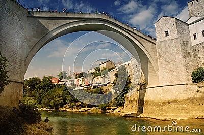 Mostar with the famous bridge, Bosnia