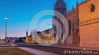 Mosteiro dos Jeronimos Tag-zu-Nacht-Timelapse, im Belem Viertel Lissabon, Portugal stock video