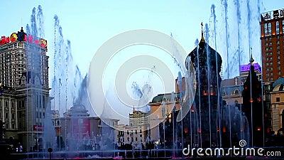 Mostra da fonte em Sophia Square na cidade de Haerbin filme