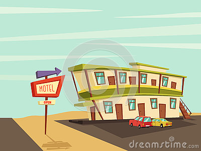 Motel in the desert. Old signboard. Vector cartoon illustration Vector Illustration