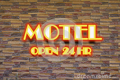 Motel and 24 hr  neon sign