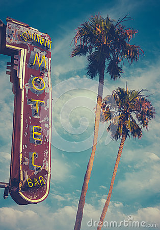 Free Motel Sign And Palms Royalty Free Stock Image - 96560256