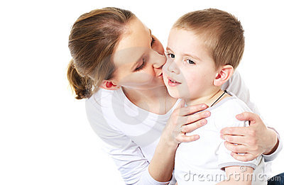 Moter kisses her son
