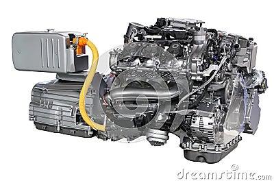 moteur hybride de voiture d 39 isolement photo stock image 30423870. Black Bedroom Furniture Sets. Home Design Ideas