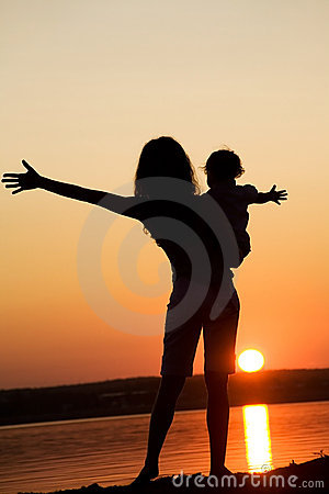 Free Mother And Daughter On Sunset Royalty Free Stock Image - 11704246