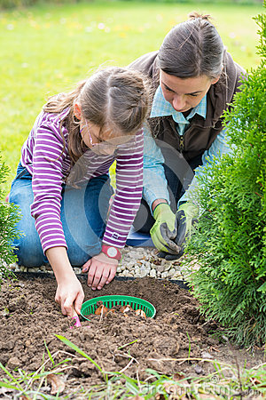 Free Mother And Daughter Planting Tulip Bulbs Stock Images - 47274364