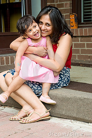 Free Mother And Daughter Sitting At The Doorstep Royalty Free Stock Images - 5439099