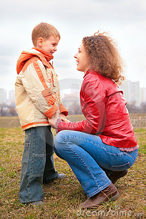 Free Mother And Son Look On Each Other Stock Images - 5466554