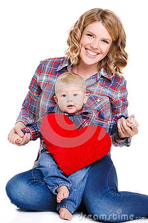 Free Mother And Son With Red Heart-shaped Pillow Royalty Free Stock Image - 66646816