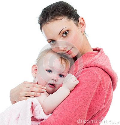 Mother with baby after bathing isolated on white