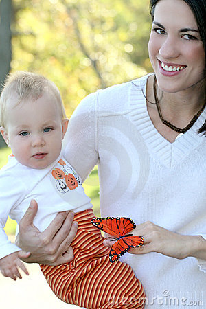 Mother and Baby Boy with Butterfly - Fall Theme