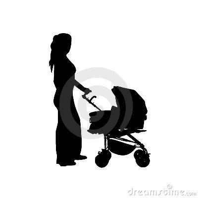 Mother with baby buggy vector
