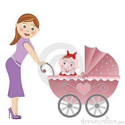 Mother and baby carriage isolated