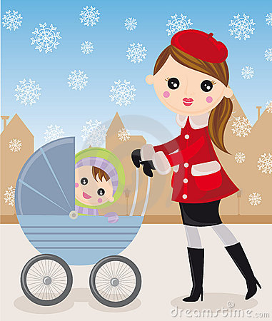 Mother and baby carriage